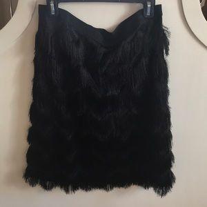 Ann Taylor Black Fringe Skirt 12 NWT
